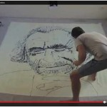 Charles Bukowski Portrait Painting Using Sauce Bottles (VIDEO)